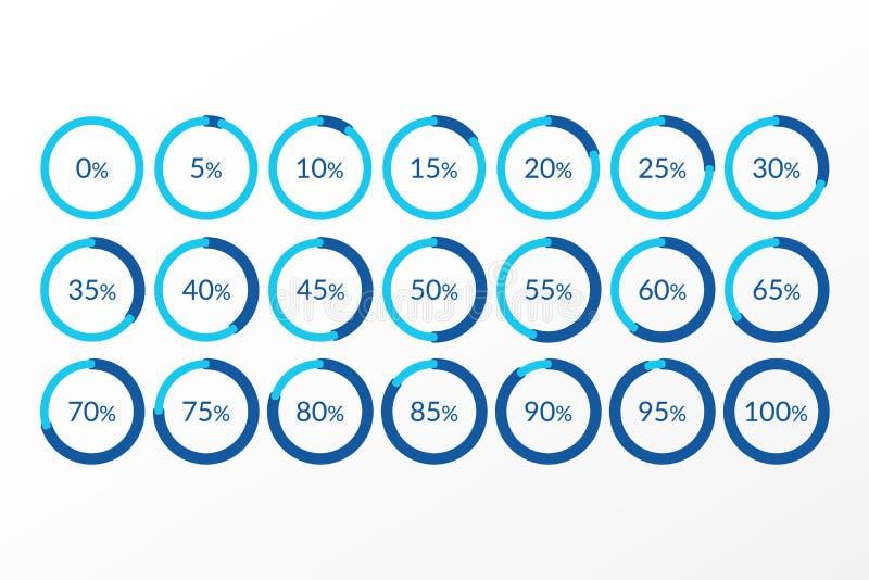 Infographics di vettore di percentuale simboli di 0 5 10 15 20 25 30 35 40 45 50 55 60 65 70 75 80 85 90 95 diagrammi a torta di  royalty illustrazione gratis
