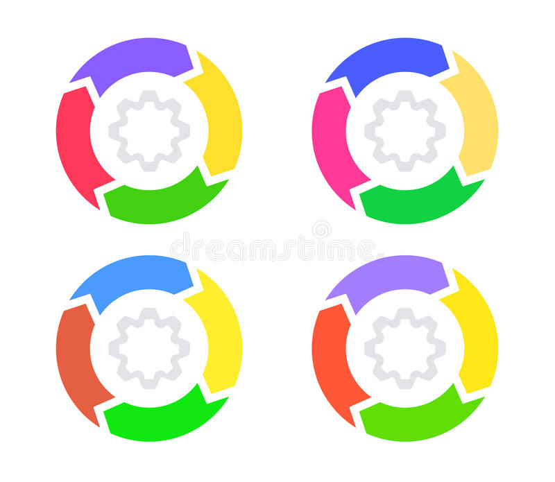 Infographics, diagrammes de cercle de cycle illustration libre de droits
