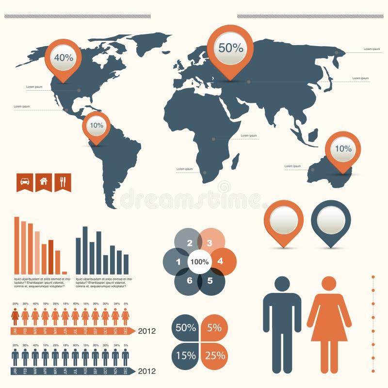 Infographics die met wereldkaart wordt geplaatst vector illustratie