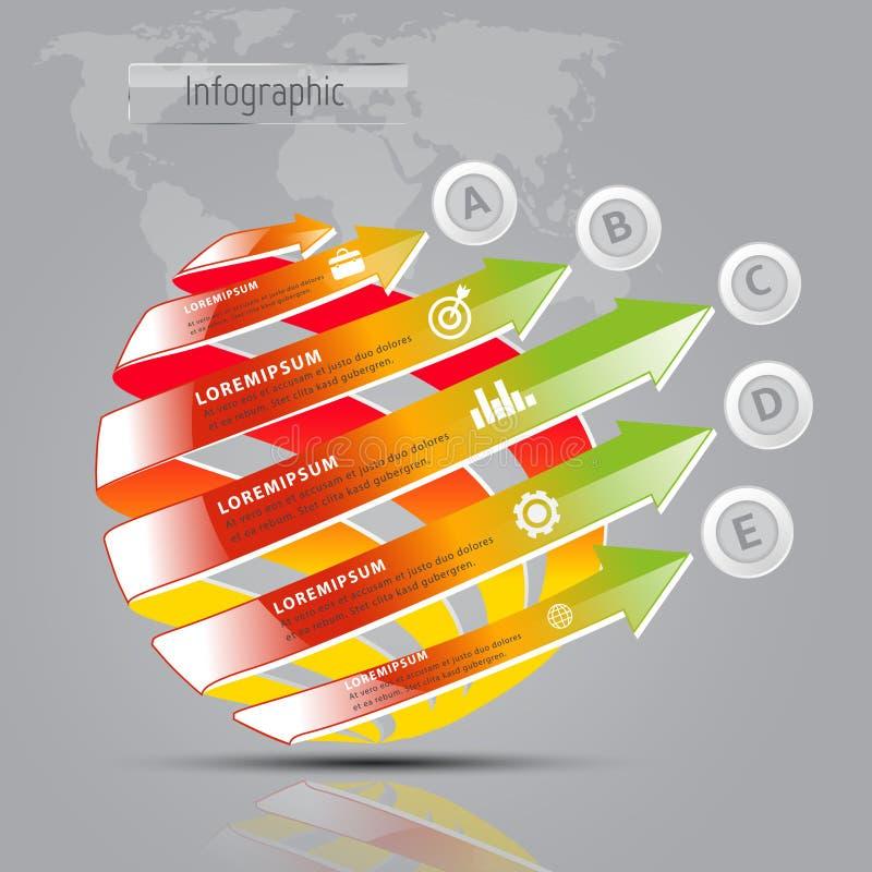 infographics digital moderno do vetor do molde da seta 3D ilustração royalty free