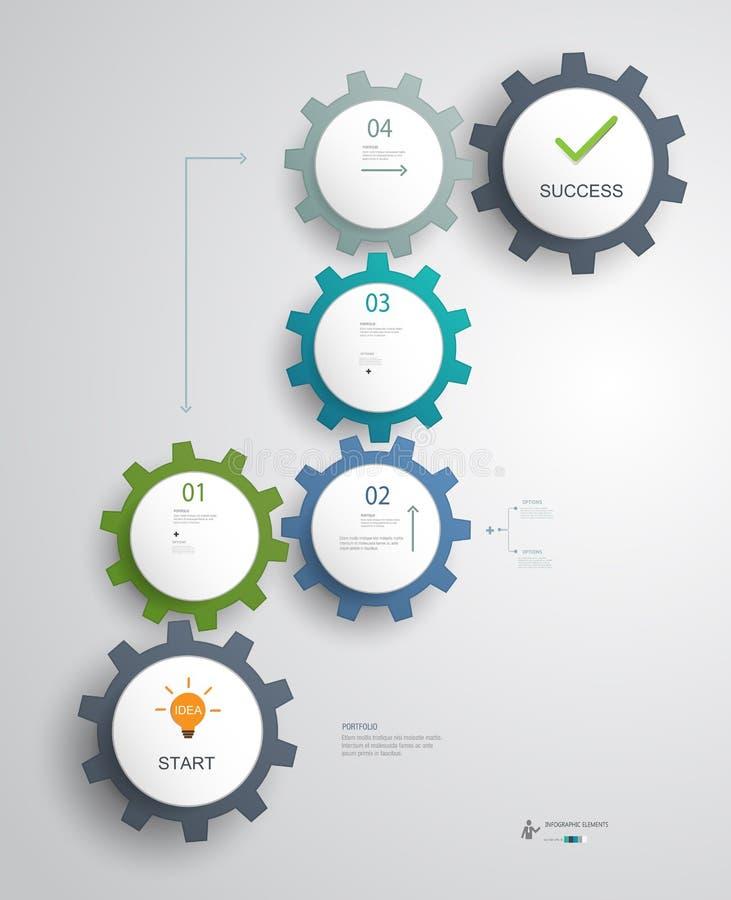 Infographics dla pomyślnego biznesu kroczy pomysłu planować ilustracja wektor