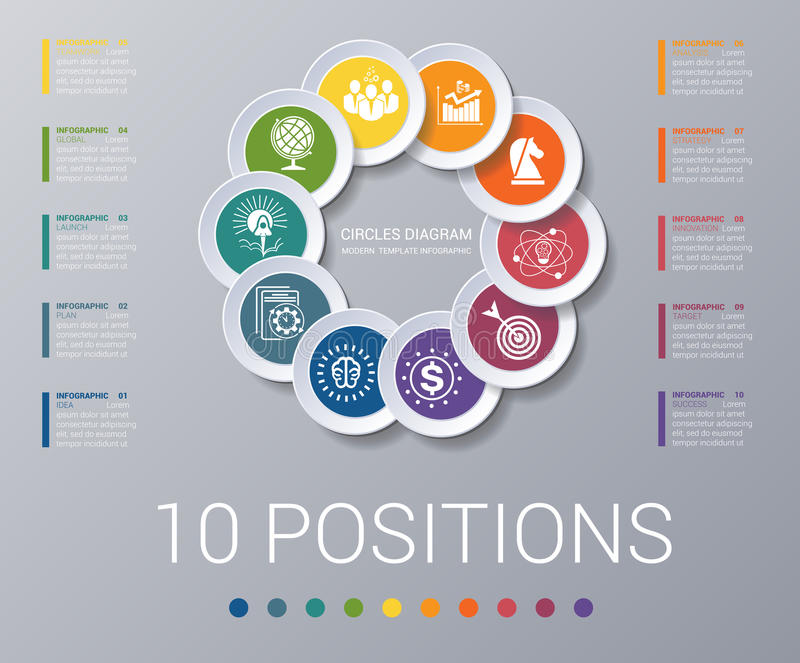 Infographics do molde dos elementos do diagrama dos círculos 10 posições ilustração do vetor