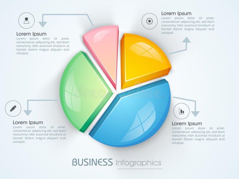 Infographics do negócio com carta de torta 3D colorida ilustração royalty free