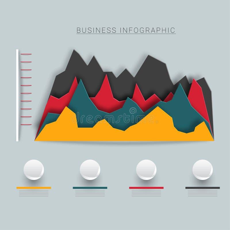 Infographics do negócio, papel - arte com gráficos ilustração do vetor