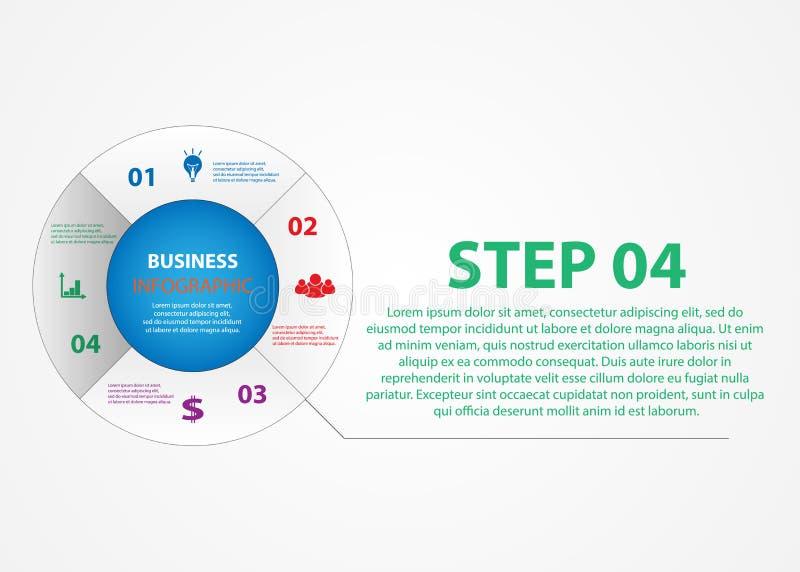 Infographics do negócio, um círculo com uma escolha das etapas ilustração stock