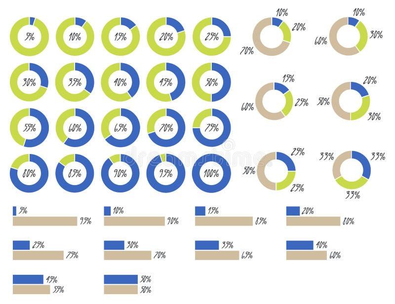 infographics do vetor: gráfico de setores circulares 5%, 10%, 15%, 20%, 25%, 30%, 35%, 40%, 45%, 50%, 55%, 60%, 65%, 70%, 75%, 80 ilustração royalty free