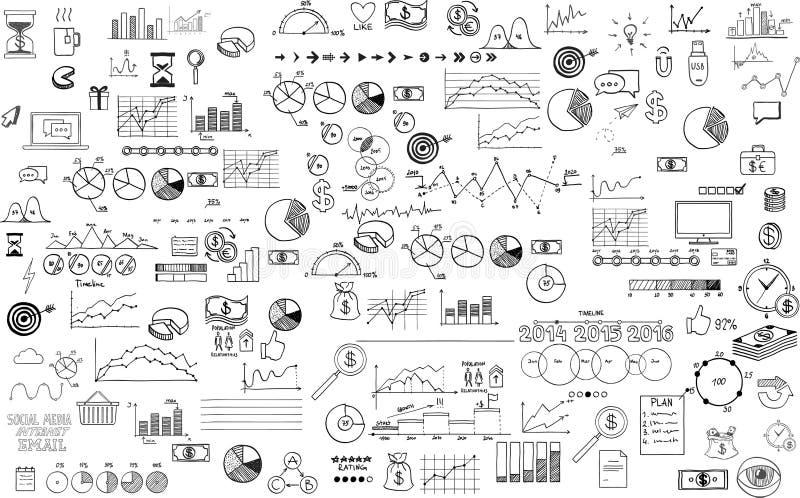 Infographics doodle inkasowa ręka rysujący nakreślenie ilustracji