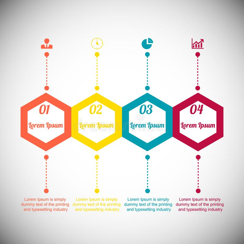Infographics dos círculos para seis posições com ícones ilustração stock