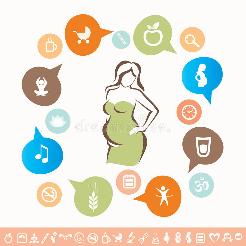 Infographics e iconos de la mujer embarazada fijados stock de ilustración