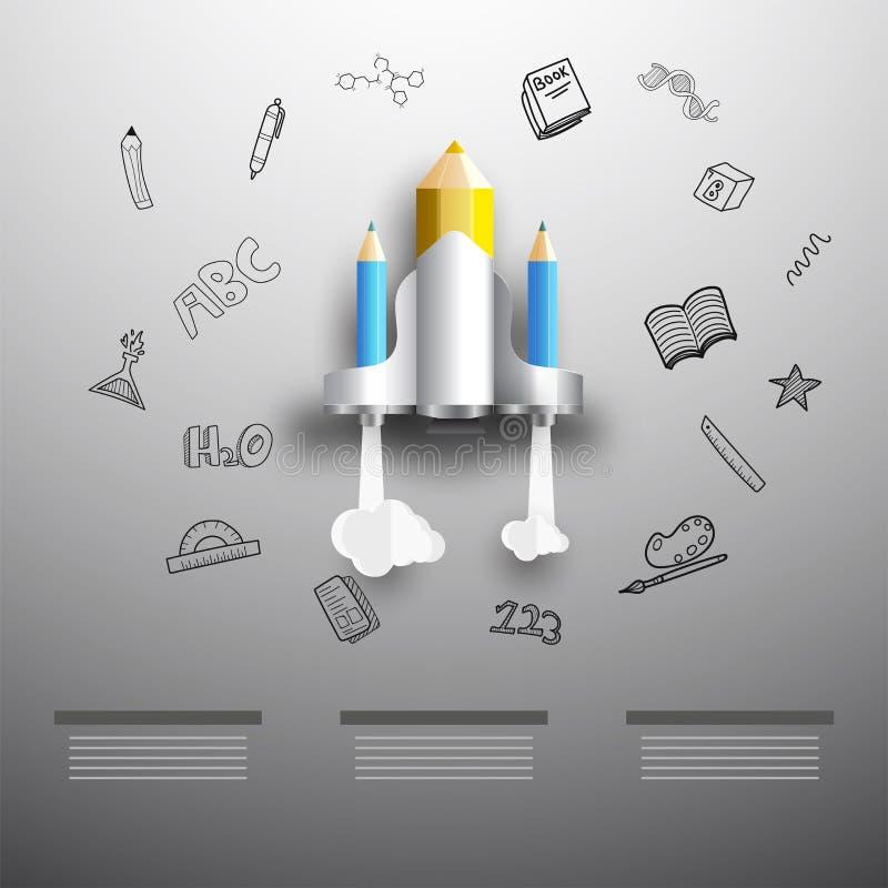 Infographics educativo, cohetes hechos por los lápices en garabato gris libre illustration