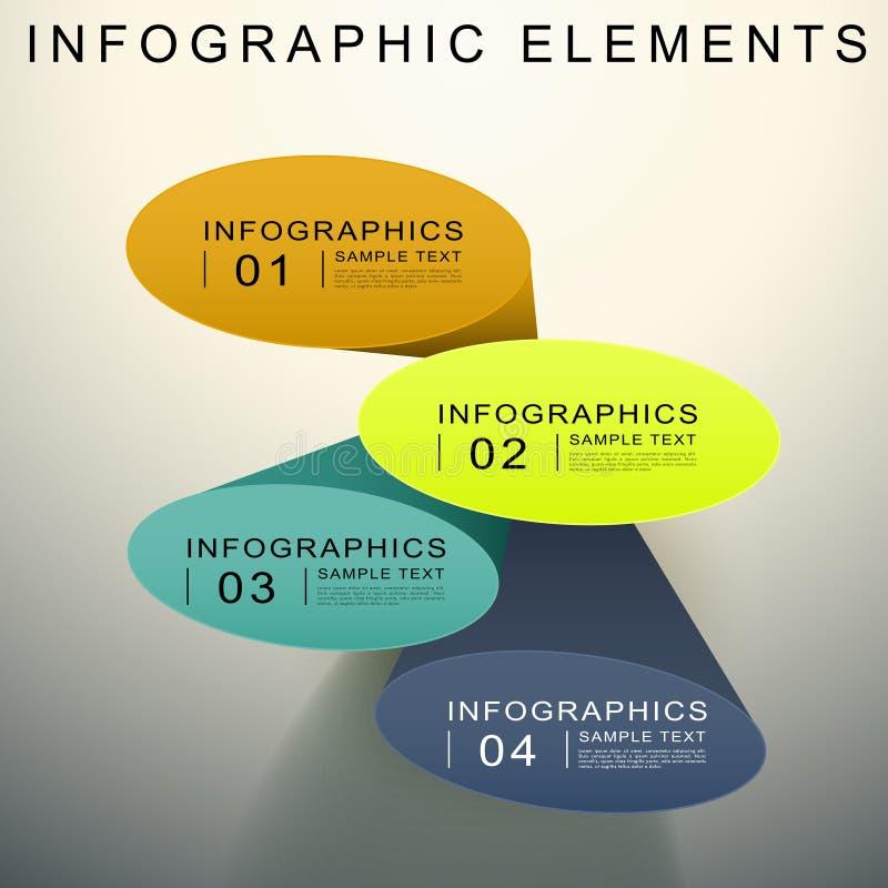 Infographics elíptico abstracto del cilindro 3d stock de ilustración