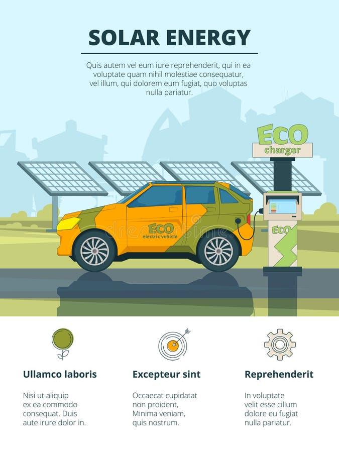 Infographics electro samochody Eco konceptualni obrazki z elektronicznymi samochodami ilustracja wektor
