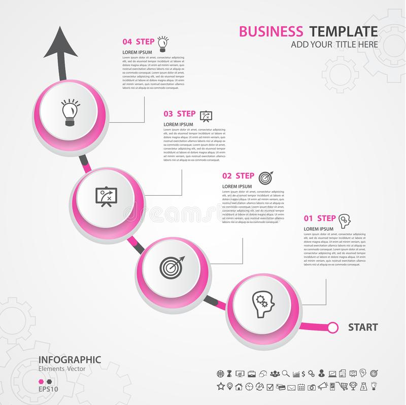 Infographics elementów diagram z 4 krokami, opcje, Wektorowa ilustracja, okrąg ikona, prezentacja, reklama royalty ilustracja