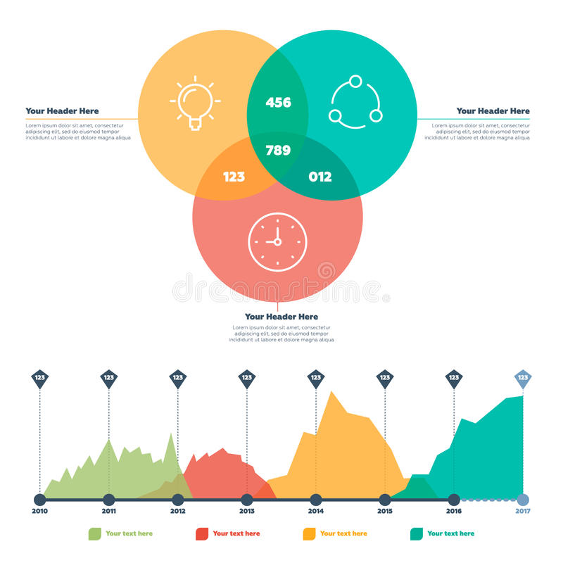 Infographics element Linje diagram och cirklar stock illustrationer