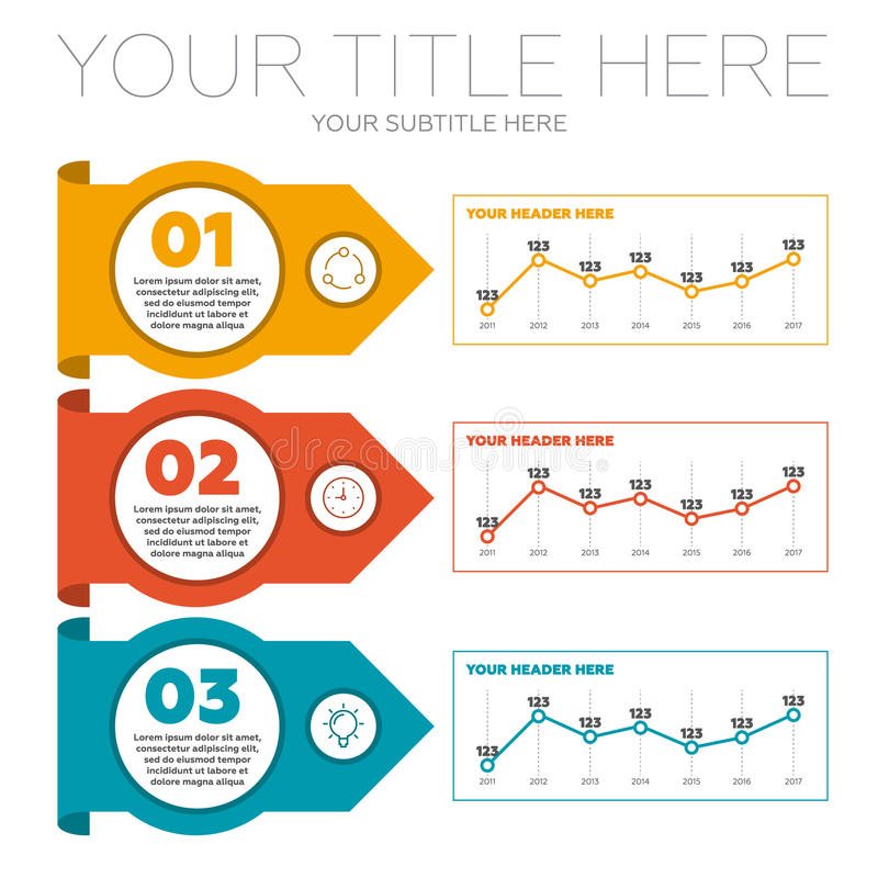 Infographics element 3 moment och linje diagram stock illustrationer