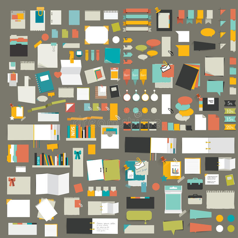 Infographics elements. Big set of flat reminder stickers. stock illustration