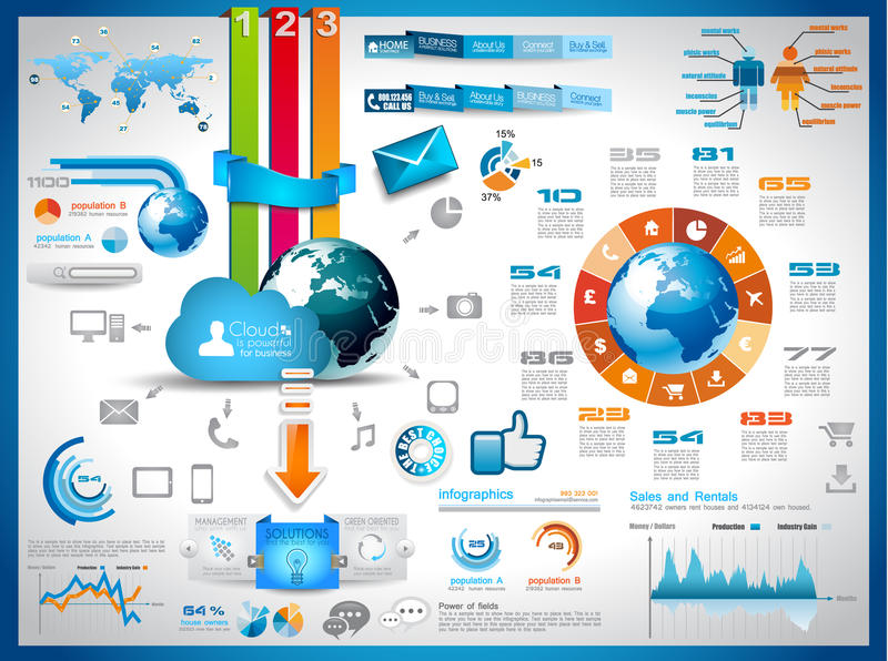 Infographics Elements for cloud computing graphs stock illustration