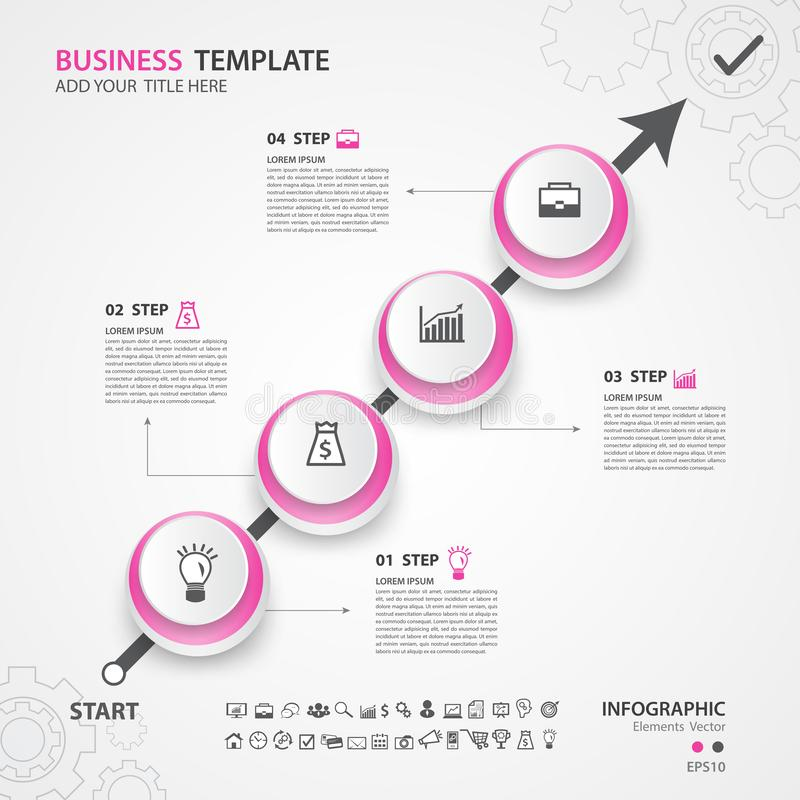Infographics elements diagram with 4 steps, options, Vector illustration, circle icon, presentation, advertisment royalty free illustration