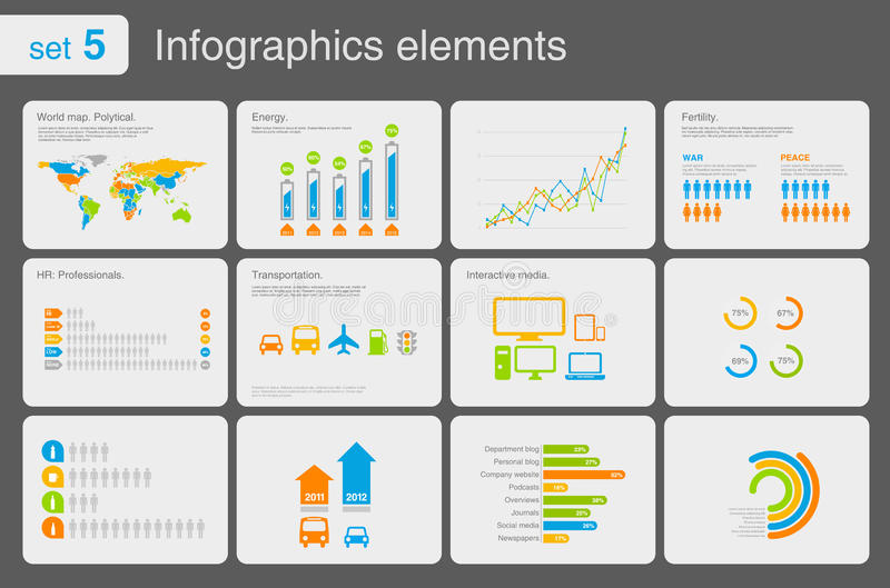 Infographics elements with icons stock illustration