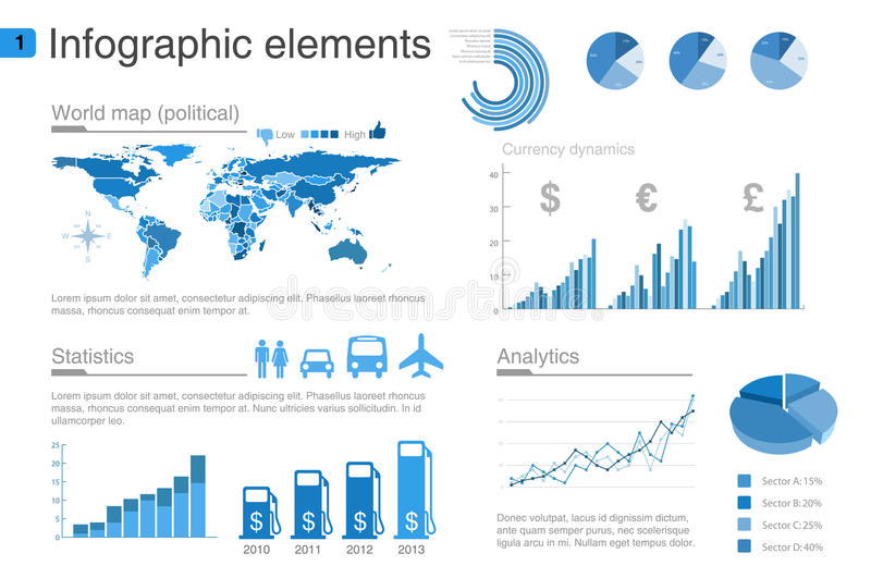 Infographics elements with icons part 2 vector illustration
