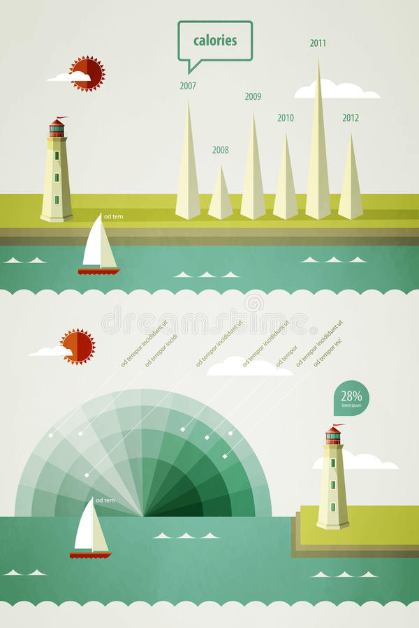 Infographics Elements With A Lighthouse Royalty Free Stock Images