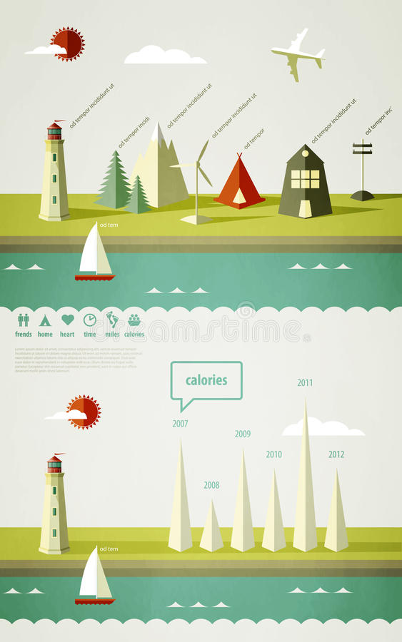 Download Infographics Elements With A Lighthouse Stock Vector - Illustration: 21590093