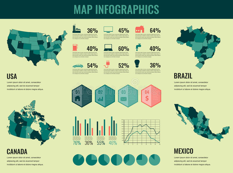 Infographics elements set with collection maps of america usa infographics elements set with collection maps of america usa canada brazil mexico infographics maps vector illustration gumiabroncs Choice Image