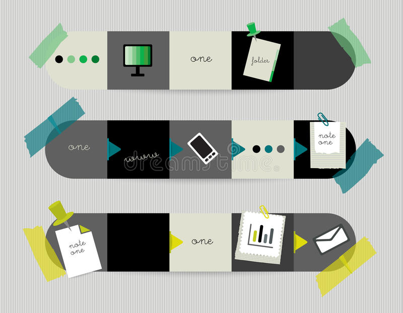Infographics Elements. Square tab, flowchart, box diagram stock illustration