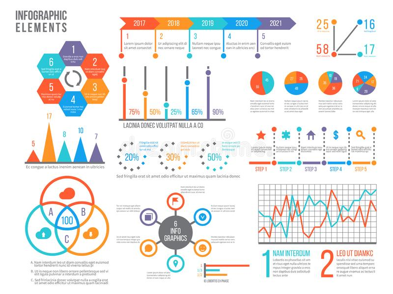 Infographics elements. Statistics chart, option flowchart and timeline. Diagram, budget graph. Business presentation vector illustration