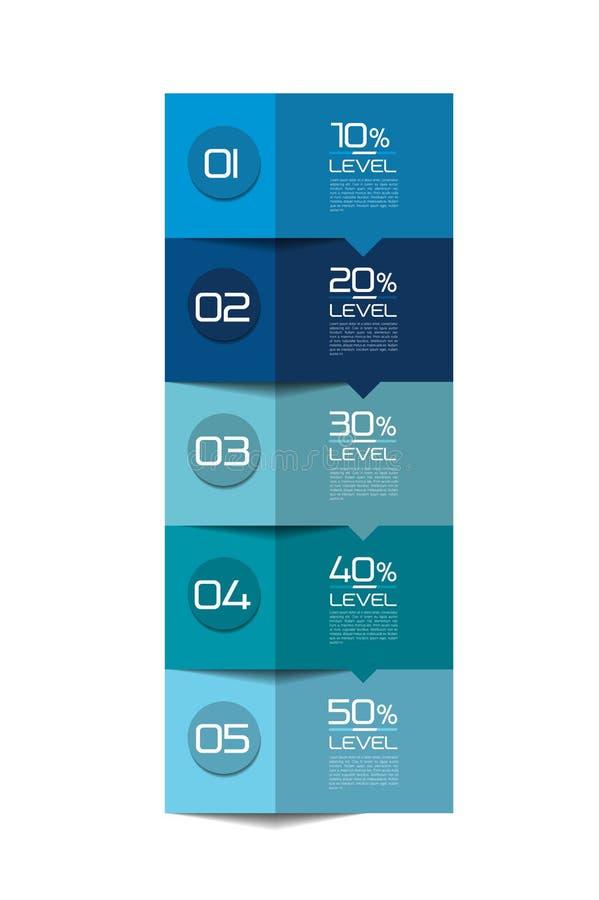 Infographics elementy Kwadratowa zakładka, flowchart, pudełkowaty diagram ilustracja wektor