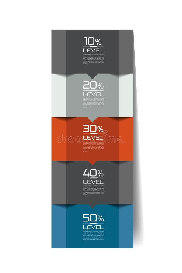 Infographics elementy Kwadratowa zakładka, flowchart, pudełkowaty diagram ilustracji