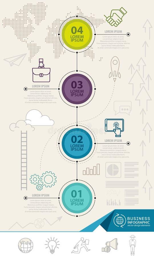 Infographics elementy z biznesowymi ikonami może używać dla edukaci infographic, sieć projekt ilustracji