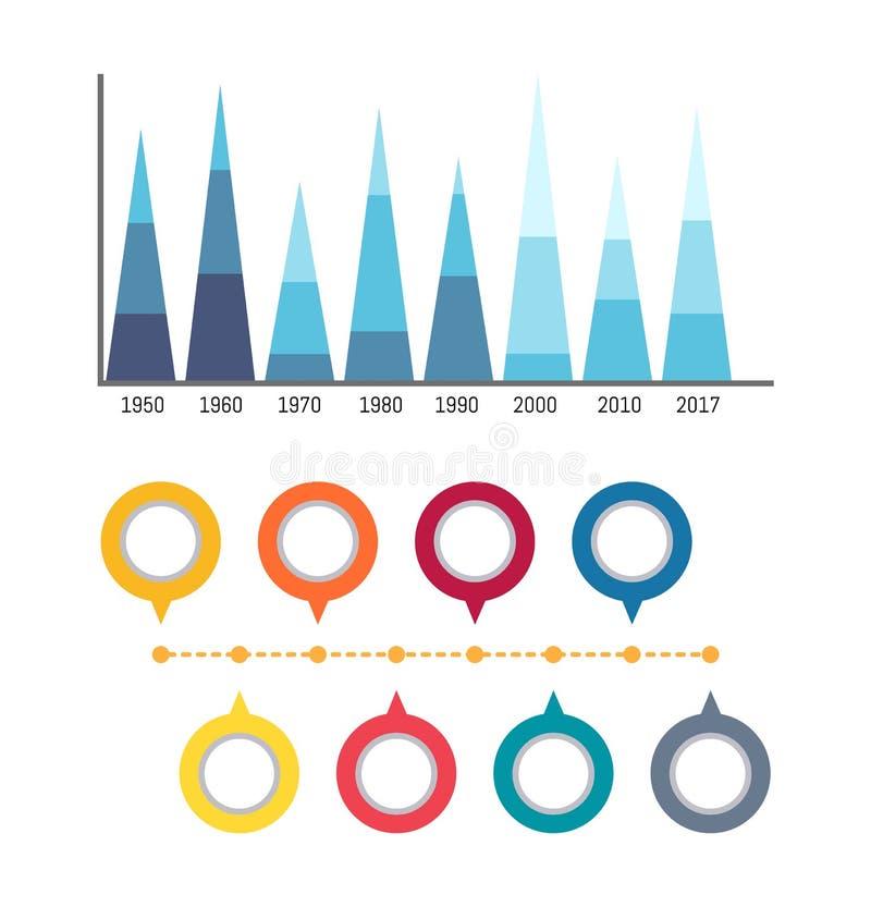 Infographics en de Omcirkelde Pictogrammen van Stroomschema'sdiagrammen stock illustratie