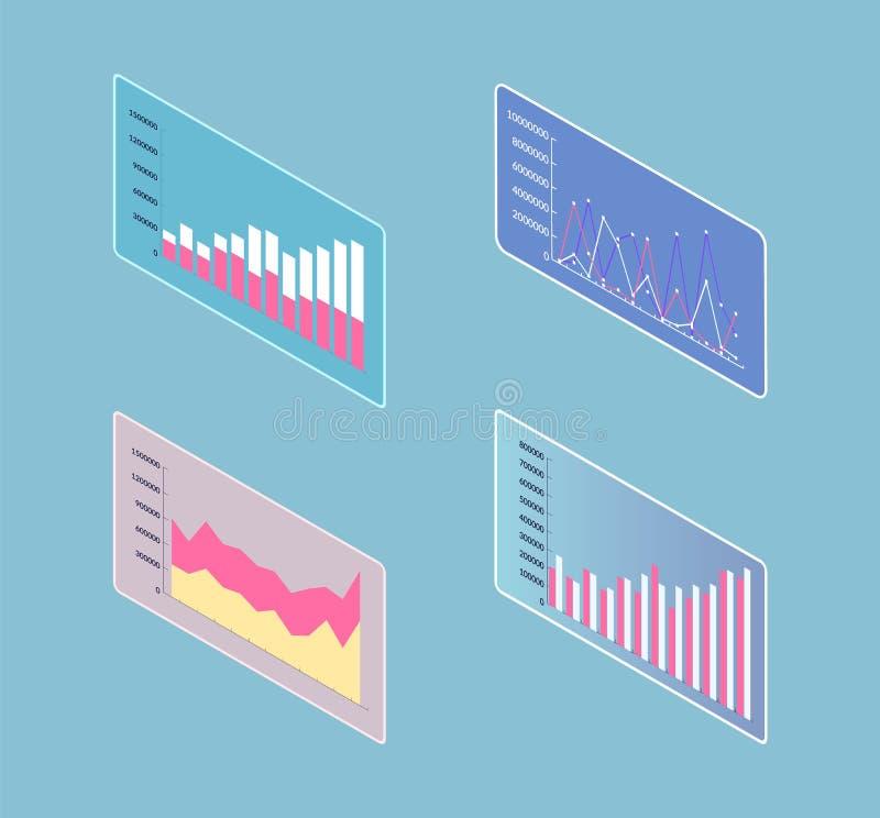 Infographics en Infocharts-Lijsten aangaande 3D het Scherm royalty-vrije illustratie