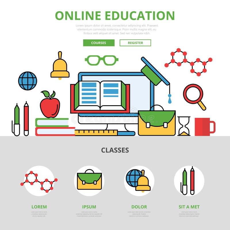 Infographics en línea plano linear K de la educación ilustración del vector