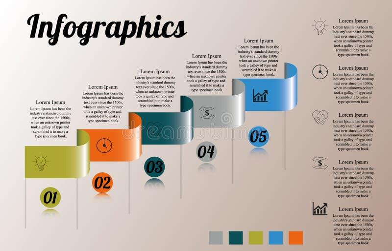 Infographics en rectángulo curvado cinco pasos con el texto a la derecha stock de ilustración