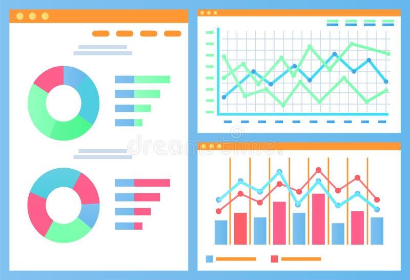 Infographics en Statistiekengrafieken en Diagrammen royalty-vrije illustratie