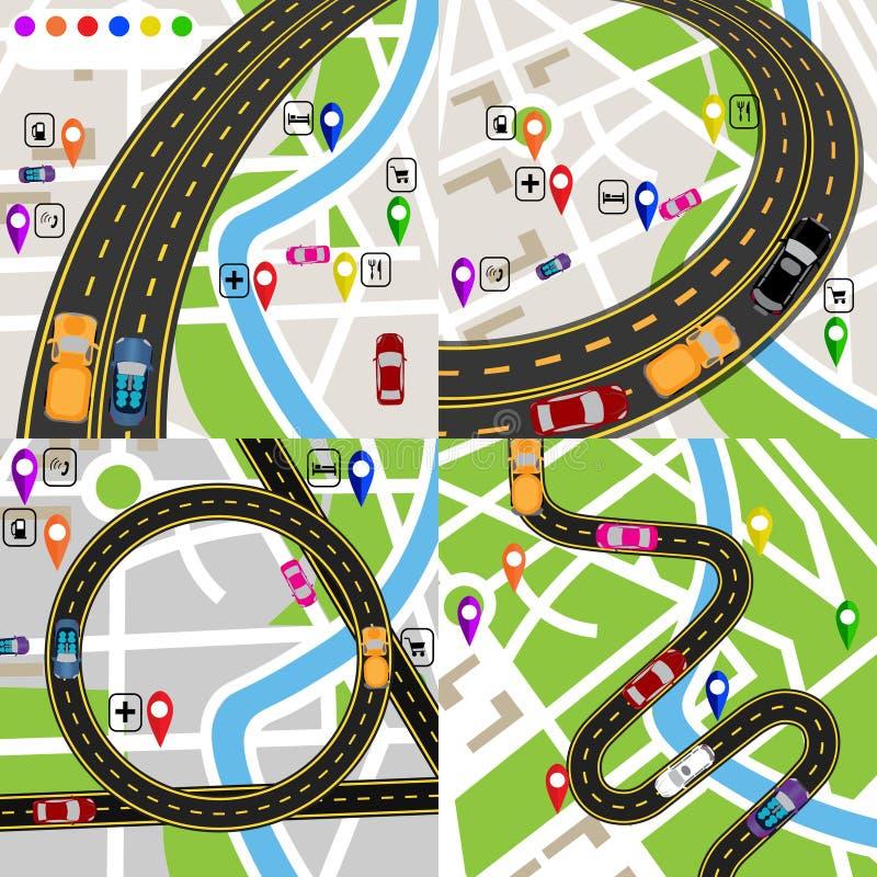 Infographics En uppsättning av stiliserade vägplan Översikter av staden Rörelse av medel Banan indikeras royaltyfri illustrationer