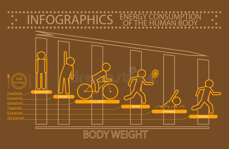Infographics energiförbrukning av människokroppen stock illustrationer
