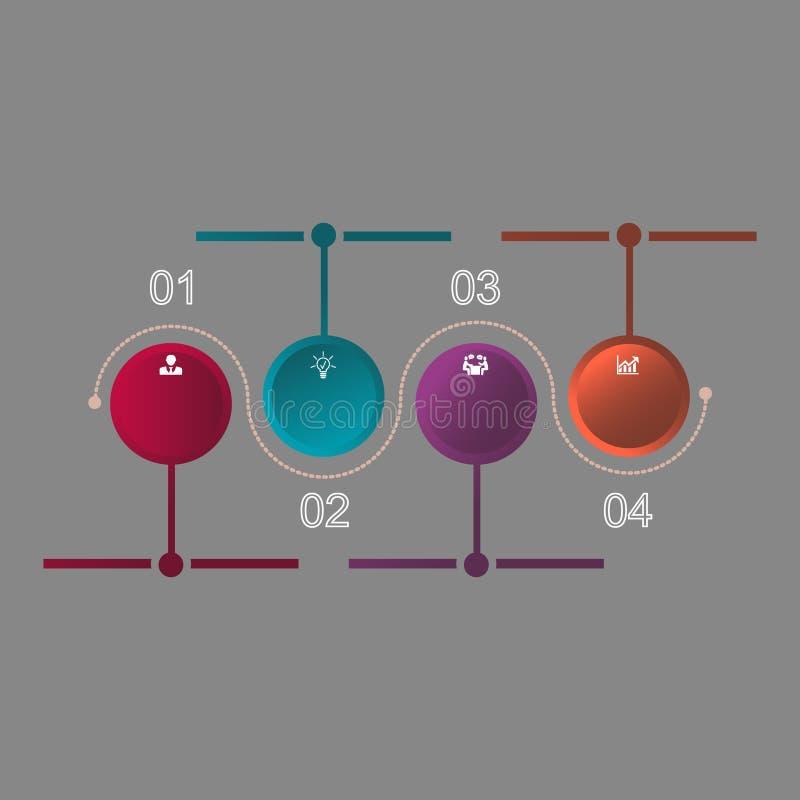 Infographics es un diagrama de cuatro ruedas con los iconos libre illustration