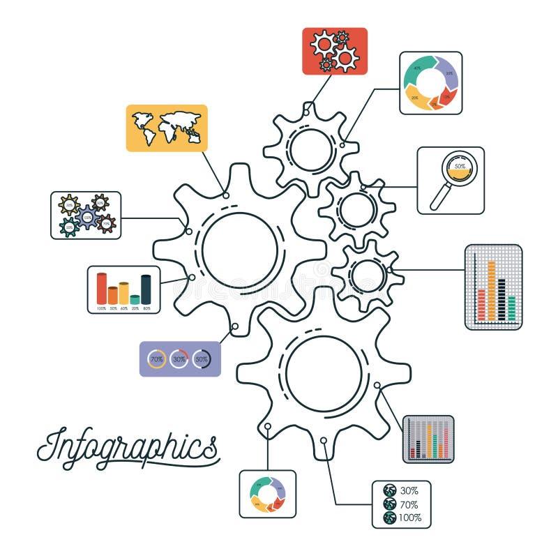 Infographics et statistiques avec des pignons réglés illustration stock
