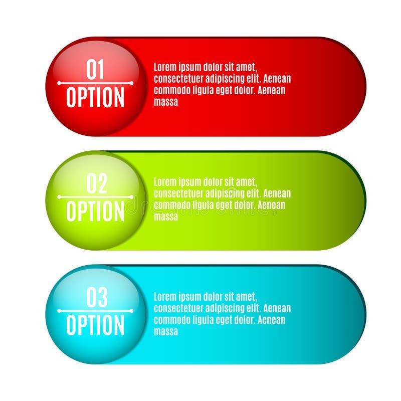Infographics Etichette per i vostri progetti con testo Web design Illustrazione realistica Stile di affari Tre opzioni per sel royalty illustrazione gratis