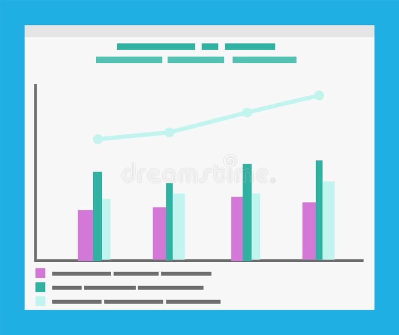 Infographics with Explanation and Timeline Graphs. Information in visual form, timeline and data vector. Research data info, table with comparison of objects vector illustration