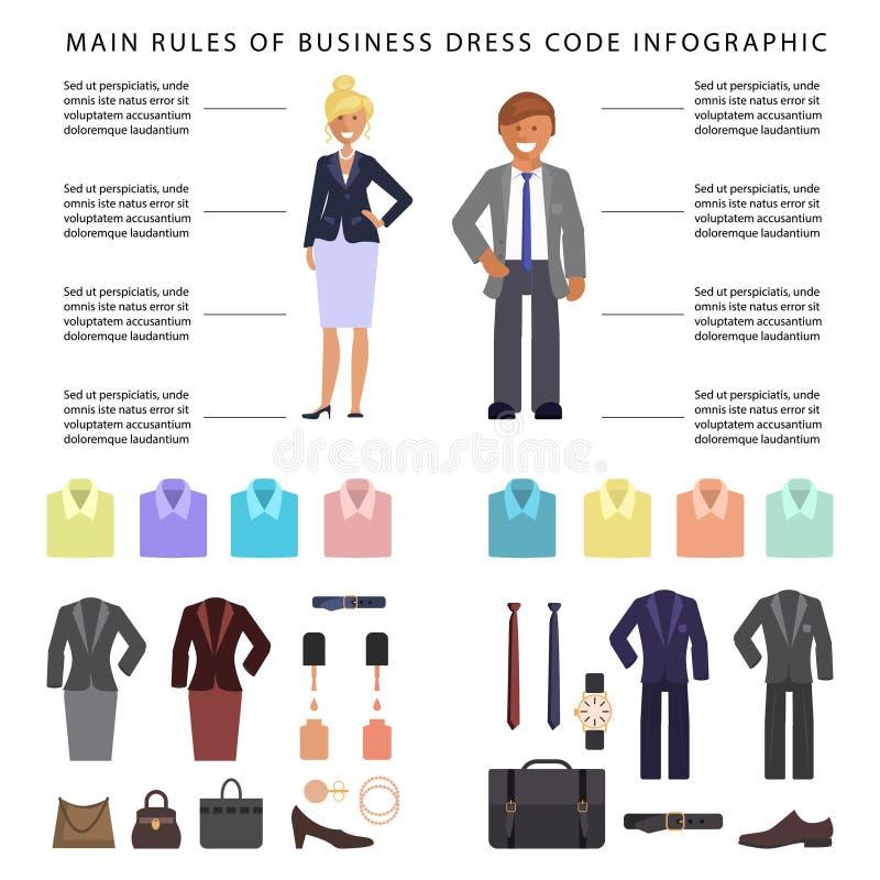 Infographics för affärsklänningkod stock illustrationer