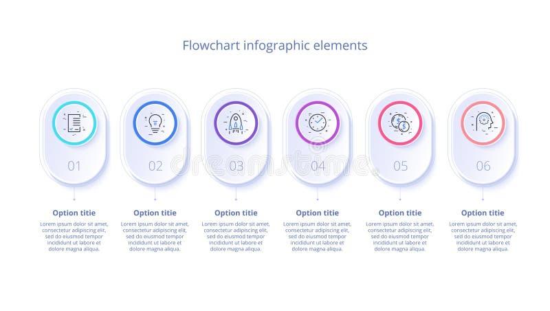 Infographics för affärsprocessdiagram med 6 momentsegment Circul vektor illustrationer