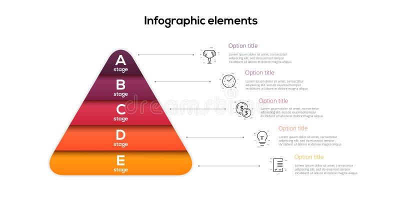 Infographics för affärspyramiddiagram med 5 moment Pyramidala etappgrafbeståndsdelar För nivåpresentation för företag hiararchy m stock illustrationer