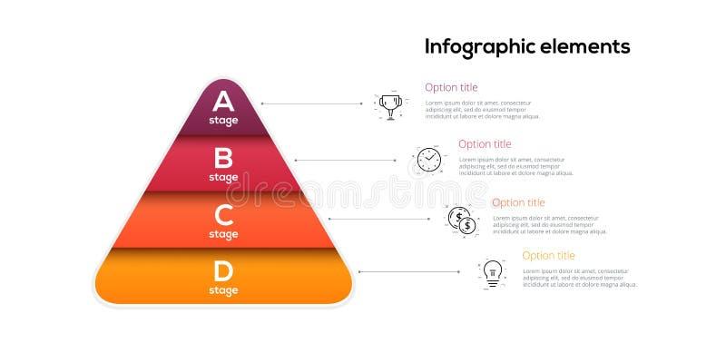 Infographics för affärspyramiddiagram med 4 moment Pyramidala etappgrafbeståndsdelar För nivåpresentation för företag hiararchy m stock illustrationer