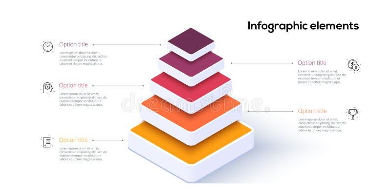 Infographics för affärspyramiddiagram med 5 moment Pyramidala etappgrafbeståndsdelar För nivåpresentation för företag hiararchy m vektor illustrationer