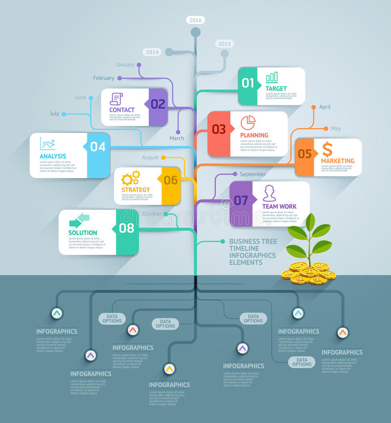 Infographics för affärsträdtimeline stock illustrationer