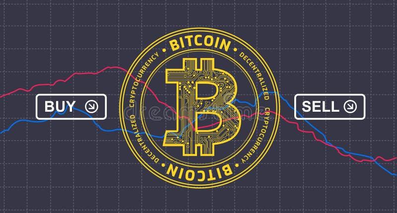 Infographics för Bitcoin prisfallet ner - bitcoincryptocurrency V royaltyfri illustrationer